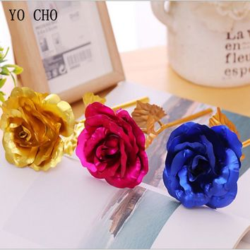 YO CHO Best Valentine's day gift girlfriend gold plated flower artificial flower 24k gold rose Mother's Day gift wedding Decor