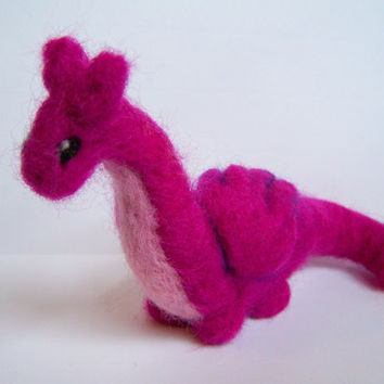 Needle Felted Dragon Creature Miniature Pink Dragon by Knittynudo