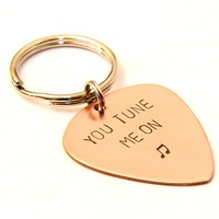 You Tune Me on Guitar Pick Keychain in Copper