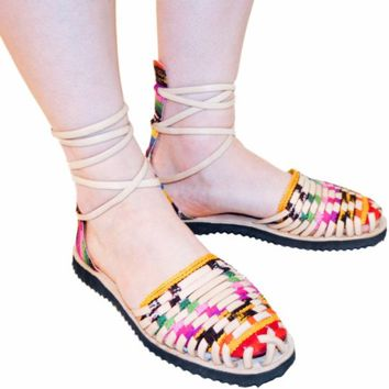 Women's Traditional Mayan Gladiator Leather Huarache Sandals