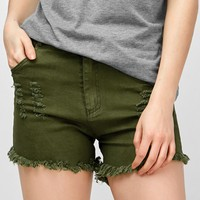 High Waisted Fringed Distressed Shorts