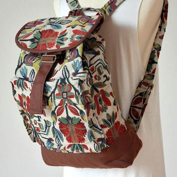 Nepali Hippie Backpack, Boho Book Bag, Messenger, Handmade - AAP627