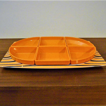 "Vintage 1960s Bessemer ""Europa"" Divided Snack Serving Tray / Retro Melamine Orange and Black Tray / Melmac Chip n Dip"