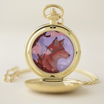 Sakura Fox Pocket Watch