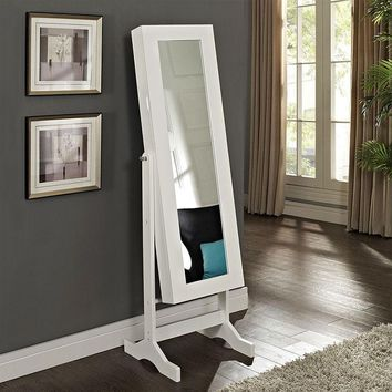 Modern Jewelry Armoire Full Length Tilting Cheval Mirror in Gloss White Finish