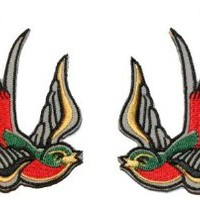 Multi Color Tattoo Sparrow Swallow Red Emo Punk Embroidered iron on Motorcycle Biker Applique Patches