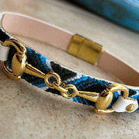 "Leather Friendship Bracelet with Equestrian Gold Snaffle Horse Bit... Magnetic Clasp....""FREE SHIPPING"""