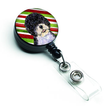 Portuguese Water Dog Candy Cane Holiday Christmas Retractable Badge Reel SS4559BR