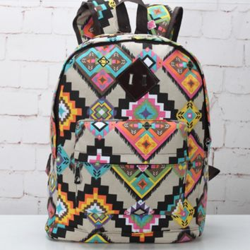 Sweet Geometry Ethnic Boho School Backpack Daypack Travel Bag