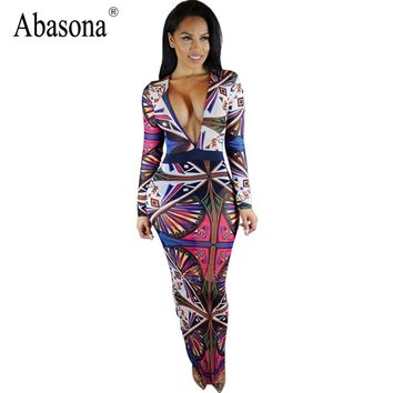 New Arrival 2017 Autumn Long Sleeve Maxi Dress Women Deep V Neck Tribal Tattoo Printed Bodycon Bandage Sexy Club Party Dresses