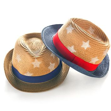 Fashion Stars Straw Child Summer Boy Boho Beach Fedora hat Sunhat Trilby Girl Panama Hat Gangster Cap Good Pack 2-8 year