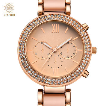 Women Business Wristwatches Fashion Alloy Rose Gold Quartz Watch Real Gold Waterproof Watch Wristwatch With Luxury Crystal Case