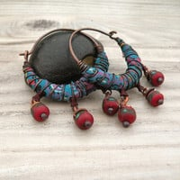Silk Road Gypsy Hoop Earrings, Blue Paisley Silk Wrapped, Tibetan Prayer Bead Drops