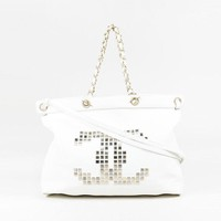 Chanel $3275 White Grained Leather Studded 'CC' Tote Bag