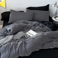 Kayleigh Striped Print Sheet Set- Duvet Cover, Flat Sheet, and Two Pillowcases