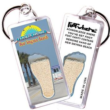 New Smyrna Beach FootWhere® Key Chain. Made in USA