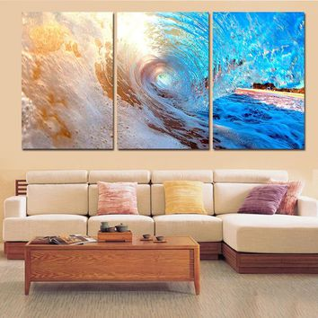 Art Oil Painting 3 pcs Abstract Sea Wave modern Blue ocean No Frame