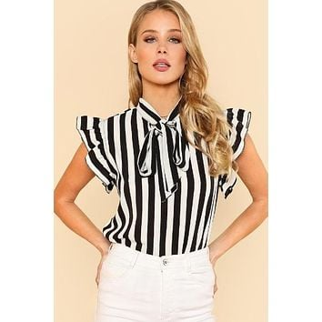 Tie Neck Flutter Sleeve Striped Blouse
