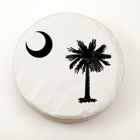 Holland Bar Stool South Carolina State Flag Tire Cover in White