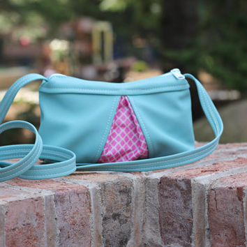 Purse - Cross Body Purse - Vinyl Teal with Pink - Small Purse -