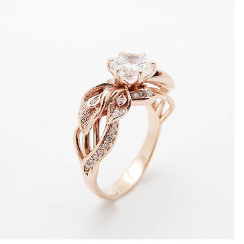 Special Reserved - 18K Rose Gold Diamond Engagement Ring Calla Lily - first payment