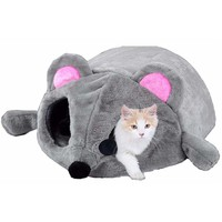 Cute Cat Bed Grey Mouse Shape House for Kitten Windproof Cats Cave With Bed Cushion Sheet Soft Sofa Sleeping Pet House Gifts