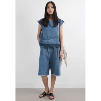Denim Fringe Trim Vest With Cropped Jeans Co-Ords (SPCO03291BLU)