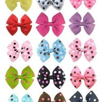 "Ship From USA--HipGirl 12pc 3.5"" Wide Pinwheel Hair Bow Clip--Polka n Solid"