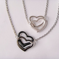 SALE hearts charms chain necklace silver black pendant choker I LOVE YOU gift initial  love friendship birthday present