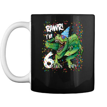 Kids Rawr Im 6 6th Birthday Dinosaur Shirts Boys Dinosaur Gift Mug