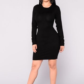 Get My Groove Knit Dress - Black
