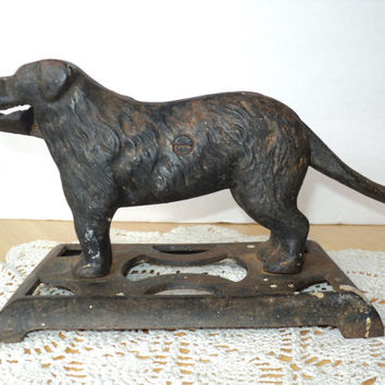 Nutcracker Cast Iron Black Dog 1930s Vintage Nut Cracker Collectible Dog Statue Man Cave Decor