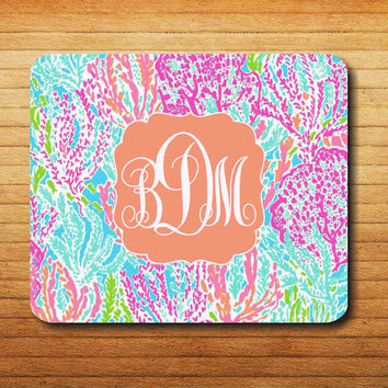NEW Lilly Pulitzer Lets cha cha pattern monogram Mouse Pad