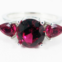 Ruby Pear Accents Ring, 925 Sterling Silver, July Birthstone Ring, Ruby Three Stone Ring, 925 Ruby Ring, Ruby Engagement Ring, SS Ruby Ring
