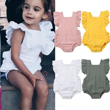US Baby Girl Infant Sleeveless Romper Ruffle Cotton Jumpsuit Outfit Sunsuit 0-2T