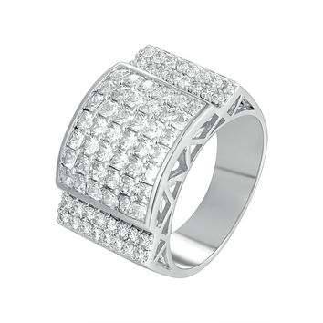 New Men's Solitaire Baguette Iced Out 3D Wedding Ring