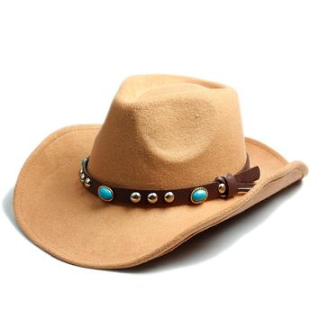 Men Women 100% Wool Felt Sombrero Cap Fedora Hat Western Cowboy Cowgirl Cap Jazz hat Sun Hat Toca Cap with leather band 10