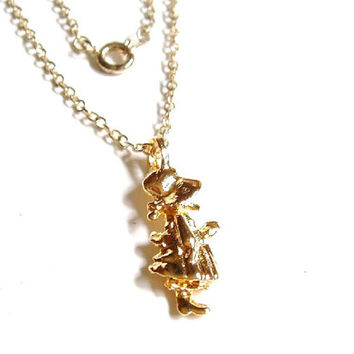 Girls Holly Hobbie Necklace // Gold Girls Necklace // Little Girl // Childrens Jewelry // Vintage Holly Hobbie Necklace