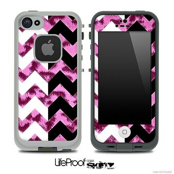 Pink Cheetah & Black/White Chevron Pattern Skin for the iPhone 5 or 4/4s LifeProof Case