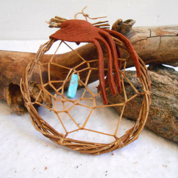 Dream Catcher, Willow Hoop Dreamcatcher, Handmade, Natural, Rustic, Primative, Woodland, OOAK, Boho, Native American, Turquoise