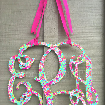 "Lilly Pulitzer Inspired Wooden Wall Monogram! 12""-24"" Triple Monogram Hanging Lilly Initials Bedroom Dorm Room Wall Decor: LuLu Pattern"