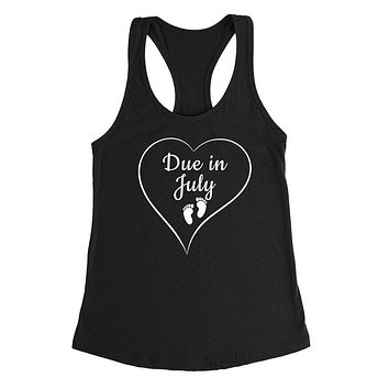 Due in July pregnancy announcement baby reveal baby shower Mother's day gift Ladies Racerback Tank Top