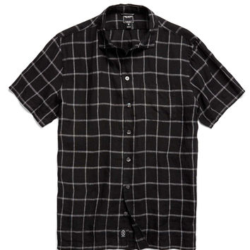 Laight Street Linen Shirt in Black Check