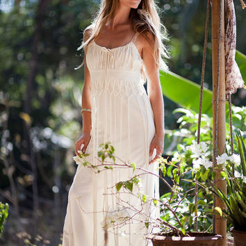 DIONYSES BOHEMIAN DRESS - Organic Wedding Bride Boho Hippie Long Elegant Prom Party Couture Burning man Maxi gift - Off white Ivory Cream