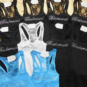 10 Bridesmaid Tank Top. Bride, Bridesmaid, Maid of Honor, Matron of Honor, Brides Entourage, Brides Crew. Bridal Party Shirts.