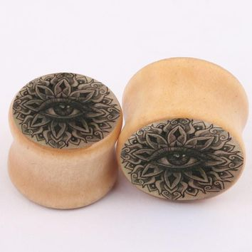 Wood Eye Tattoo Flower Logo Ear Gauge Plugs And Tunnels Stretcher 2pcs/lot Expander 6mm--16mm Body Piercing Jewelry