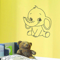 WALL DECAL VINYL STICKER CARTOON FUNNY ELEPHANT BABY ROOM NURSERY DECOR SB261