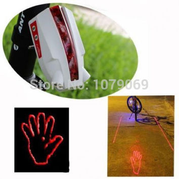 2016 Ornate Bike Bicycle Intelligent Laser Rear Light 5 LED Tail Lamp 4 modes Free shipping