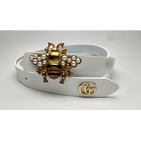 GUCCI 2018 new fashion trend bee decoration wild smooth buckle belt White