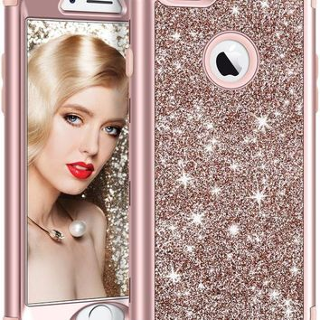 ONETOW iPhone 6S Plus Case, Vofolen iPhone 6 Plus Case Glitter Bling Shiny Heavy Duty Protection Full-body Protective Hard Shell Hybrid Rubber Bumper Armor + Front Cover for iPhone 6 Plus 6S Plus - Rose Gold